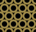 Classic gold patterns with 3d effect on black background, seamless ornament in damask style, golden circle shape on
