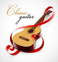 Classic guitar as clef simbol Stock Images