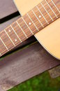 Classic guitar close up of a wooden accoustic Stock Photography