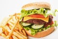Classic hamburger with french fries Royalty Free Stock Image