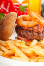 Classic hamburger sandwich and fries Stock Images