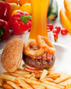 Classic hamburger sandwich and fries Stock Photos