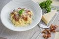 Classic Homemade Pasta Carbonara Italian. Spaghetti with bacon, Royalty Free Stock Photo