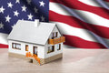 Classic house against usa flag background Royalty Free Stock Photography