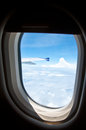 Classic image through aircraft window onto airplane Stock Photo