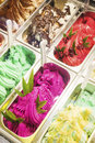 Classic italian gelato ice cream in shop display