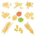 Classic Italian Pasta Types Set Royalty Free Stock Photo