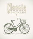 Classic ladys bicycle vintage illustration with a editable layered vector Royalty Free Stock Photo