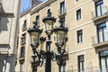 Classic lamppost in les rambles of barcelona black wrought iron catalonia spain Royalty Free Stock Photo