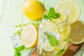 Classic lemon and mint lemonade Royalty Free Stock Photo