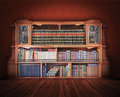 Classic library antique furniture with books Stock Photos