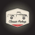 Classic logo of vintage pickup vehicle icon design. Vector illustration
