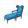 Classic lounge chair colored doodle hand drawn illustration of an antique furniture piece with blue upholstery isolated on white Stock Images