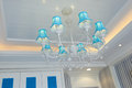 Classic luxury pendent lighting in villa room Stock Image