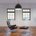 Classic luxury room with leather armchair in daylight Royalty Free Stock Images