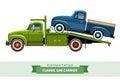 Classic medium duty car hauler truck side view