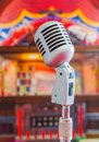 Classic microphone colorful blur background Royalty Free Stock Photography
