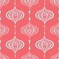 Classic Monochrome Coral Handdrawn Ogee Vector Seamless Pattern. Retro Pink Elegant Traditional Background
