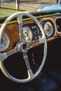 Classic Morgan retro car steering wheel and wooden board