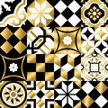 Classic mosaic tile seamless pattern in gold color Royalty Free Stock Photo