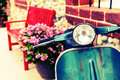 Classic motorcycle with red bench Royalty Free Stock Photo
