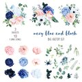 Classic navy blue, white, blush pink rose, hydrangea, ranunculus, orchid Royalty Free Stock Photo