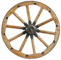 Classic old antique wooden wagon wheel rim spoke with black metal brackets and rivets. Traditional cannon wheel isolated on white. Royalty Free Stock Photo