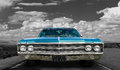 Classic old car - on black and white background Royalty Free Stock Photo