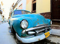 Classic old car is blue color Stock Photography