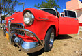 Classic old car is red color Royalty Free Stock Photo