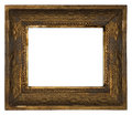 Classic old ornate wooden picture frame carved by hand on white background Royalty Free Stock Photo