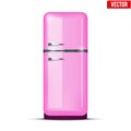Classic pink Fridge refrigerator. Vector isolated Royalty Free Stock Photo
