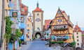 Classic postcard view of the medieval old town of Rothenburg ob der Tauber, Bavaria, Germany
