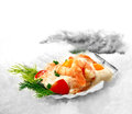 Classic prawn cocktail freshly prepared served in a scallop shell placed on white snow the perfect image for a fish restaurant or Royalty Free Stock Images