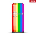 Classic rainbow Fridge refrigerator. Vector Royalty Free Stock Photo