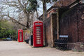 Classic red British telephone box in UK