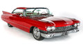 Classic 1960 Red Cadillac Coupe DeVille Car on White Background, Isolated. Vintage U.S. Car. Royalty Free Stock Photo
