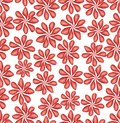 Classic red flower patterns on white background. Seamless abstract vector background