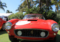 Classic red italian racing car at cavallino front view straight on ferrari gt swb competizione racer event in south florida Stock Image