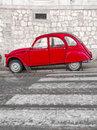 Classic red retro car on lisbon streets Royalty Free Stock Photos