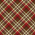 Classic red tartan diagonal seamless fabric texture Royalty Free Stock Photo