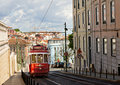 Classic red tram of Lisbon Stock Photo