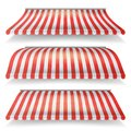 Classic Red And White Awning Vector Set. Realistic Store Awning Isolated On White Background Illustration