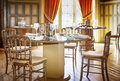 Classic restaurant table decorated empty Royalty Free Stock Image