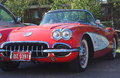 Classic Restored Red And White Corvette Convertible Royalty Free Stock Photo