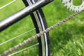 Classic road bicycle close-up photo in the summer green grass meadow field. Travel background Royalty Free Stock Photo