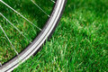 Classic road bicycle wheel close-up photo in the summer green grass meadow field. Travel background Royalty Free Stock Photo