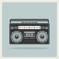 Classic s boombox on retro background vector detailed icon Royalty Free Stock Photo