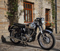 Classic s british motorcycle outdoors Royalty Free Stock Image