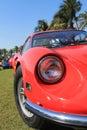 Classic 1960s red italian sports car headlamp Royalty Free Stock Photo